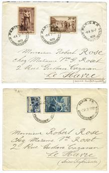 n°165 et 417 obl. - Timbre France  Poste (Affranchissement Avion)