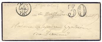 France : Lettre en port dû taxée à 30 c. du 1er juillet 1854