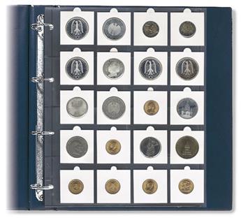 """FEUILLES """"COMPACT A4"""" (20 CASES POUR ETUIS MONNAIES: 50x50mm) - SAFE® (x5)"""