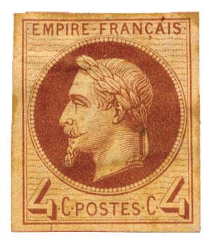 France : Essai (*) Empire lauré 4 c. brun-rouge