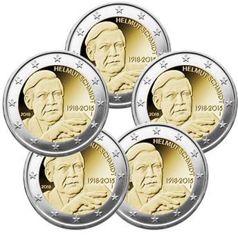 2 EURO COMMEMORATIVE 2018 : ALLEMAGNE (HELMUT SCHMIDT) (5 pièces)