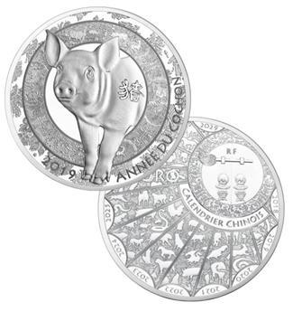 10 EUROS ARGENT - ANNEE DU COCHON 2019