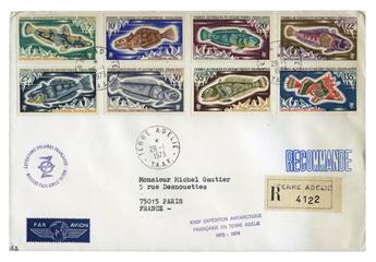 n° 34/38 et n° 43/45 obl. sur lettre -  Timbre TAAF Poste