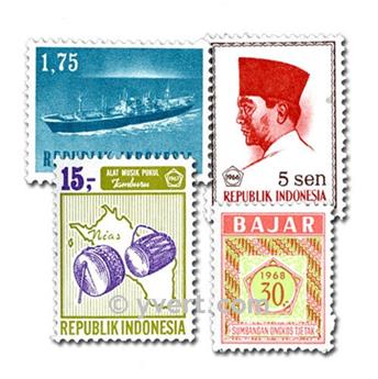 INDONESIA: envelope of 100 stamps