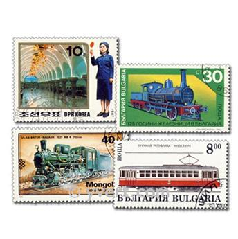 TRAINS : pochette de 300 timbres