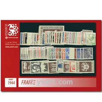 n° 599/668  - Timbre France Année complète  (1944)