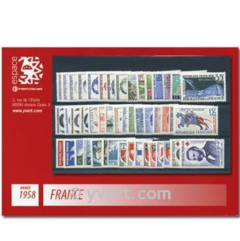 n° 1142/1188  - Sello Francia Año completo  (1958)
