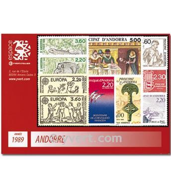 n° 376/384 -  Timbre Andorre Année complète (1989)