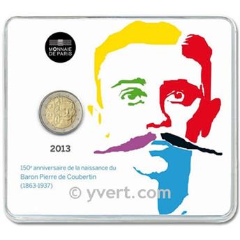 BE : 2 EURO COMMEMORATIVE 2013 : FRANCE (PIERRE DE COUBERTIN)