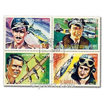 AVIATORS: envelope of 50 stamps