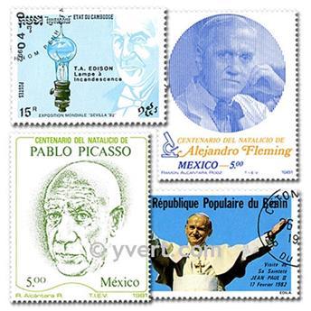 CELEBRIDADES: lote de 500 selos