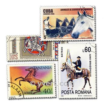 CHEVAUX : pochette de 1000 timbres
