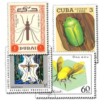 INSECTES : pochette de 100 timbres
