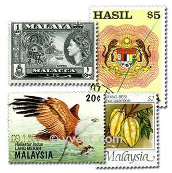 MALAISIE : pochette de 100 timbres