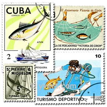 FISHING: envelope of 50 stamps