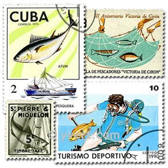 PECHE : pochette de 50 timbres