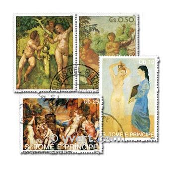 CUADROS DESNUDOS: lote de 200 sellos