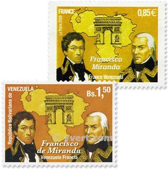 2009 - Joint issue-France-Venezuela-(mounts)