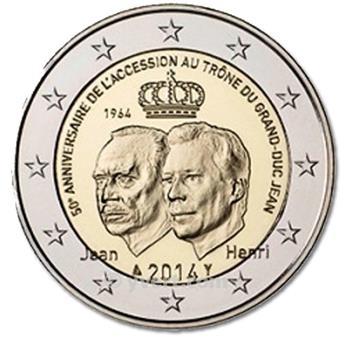 2 EURO COMMEMORATIVE 2014 : LUXEMBOURG (50e anniversaire de l´accession au trône du Grand-Duc Jean)
