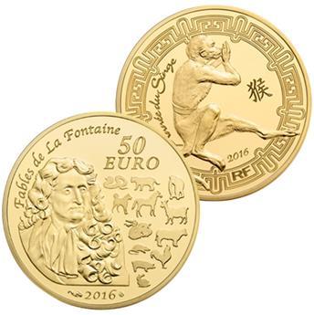50 EUROS OR - ANNEE DU SINGE 2016
