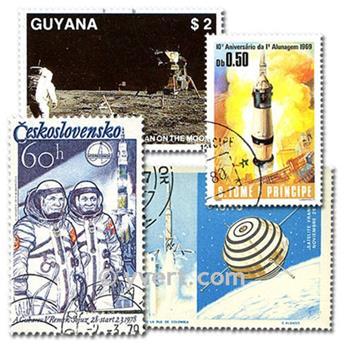 ASTRONAUTIQUE : pochette de 100 timbres
