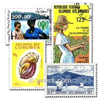 COMORES : pochette de 100 timbres