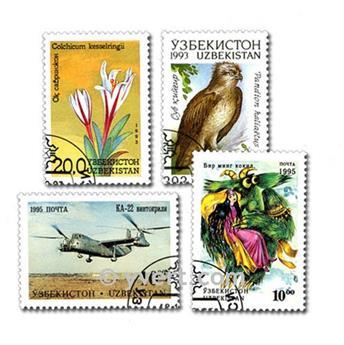 UZBEKISTAN: envelope of 50 stamps