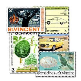 SÃO VICENTE E GRANADINAS: lote de 100 selos