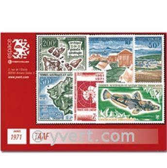 n° 34/39+PA23/26 -  Selo TAAF Ano completo (1971)