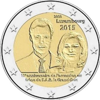 2 EURO COMMEMORATIVE 2015 : LUXEMBOURG (15e anniversaire de l'accession au trône du Grand-Duc Henri)